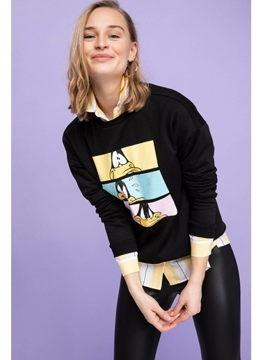DeFacto Daffy Duck Baskılı Lisanslı Sweatshirt Siyah